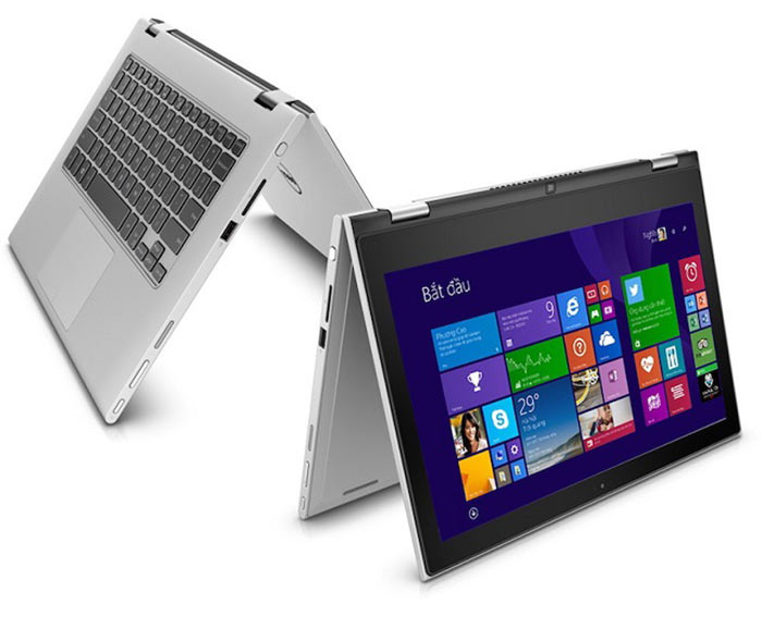 One frame of a 360 degree animation of the Dell Inspiron 13 7000 Series (Model 7347) 13-inch 2 in 1 notebook computer, which folds over to convert into a tablet.